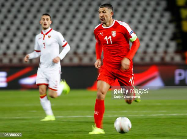 Aleksandar Kolarov of Serbia in action during the UEFA Nations League C group four match between Serbia and Montenegro at stadium Rajko Mitic on...