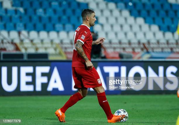 Aleksandar Kolarov of Serbia in action during the UEFA Nations League group stage match between Serbia and Turkey at Rajko Mitic Stadium on September...
