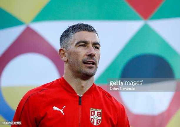 Aleksandar Kolarov of Serbia looks on prior to the UEFA Nations League C group four match between Serbia and Montenegro at stadium Rajko Mitic on...