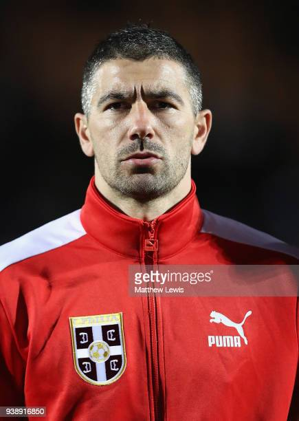 Aleksandar Kolarov of Serbia pictured ahead of the International Friendly match between Nigeria and Serbia at The Hive on March 27 2018 in Barnet...