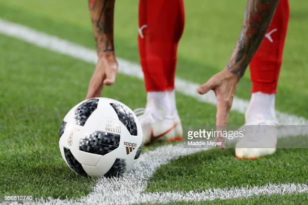 Aleksandar Kolarov of Serbia places the ball for a corner kick during the 2018 FIFA World Cup Russia group E match between Serbia and Brazil at...