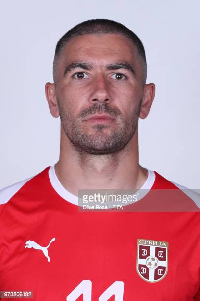 Aleksandar Kolarov of Serbia poses for a portrait during the official FIFA World Cup 2018 portrait session at the Team Hotel on June 12 2018 in...