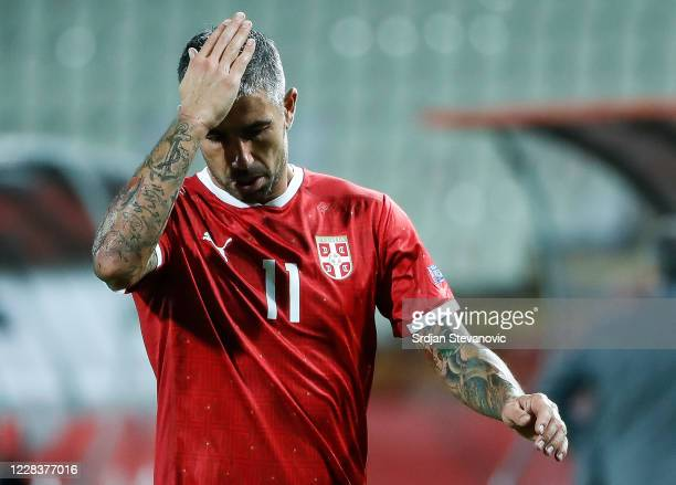Aleksandar Kolarov of Serbia reacts after received red card during the UEFA Nations League group stage match between Serbia and Turkey at Rajko Mitic...