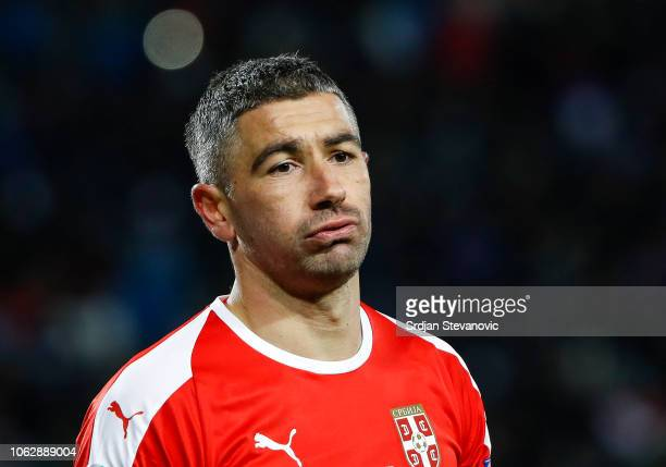Aleksandar Kolarov of Serbia reacts during the UEFA Nations League C group four match between Serbia and Montenegro at stadium Rajko Mitic on...