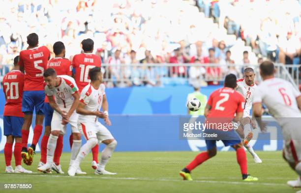 Aleksandar Kolarov of Serbia scores direct from a free kick during the 2018 FIFA World Cup Russia group E match between Costa Rica and Serbia at...