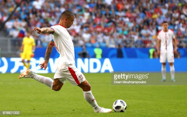 Aleksandar Kolarov of Serbia scores his team's first goal from a free kick during the 2018 FIFA World Cup Russia group E match between Costa Rica and...