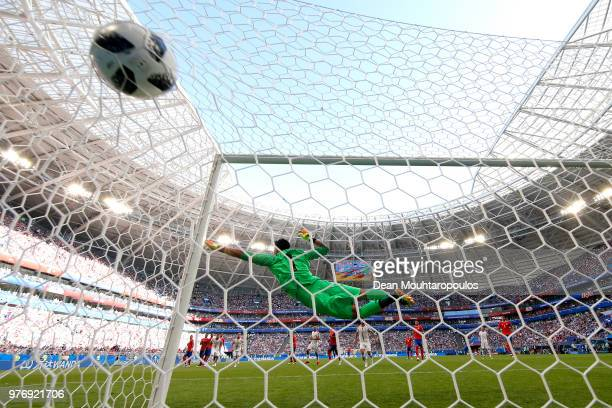Aleksandar Kolarov of Serbia scores his team's first goal past Keylor Navas of Costa Rica from a free kick during the 2018 FIFA World Cup Russia...
