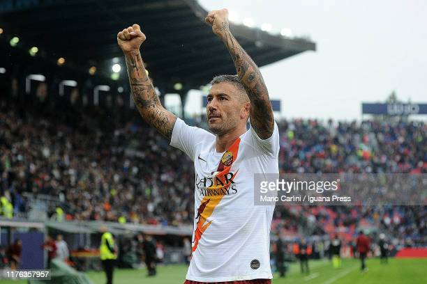 Aleksandar Kplarov of AS Roma celebrates at the end of the Serie A match between Bologna FC and AS Roma at Stadio Renato Dall'Ara on September 22...