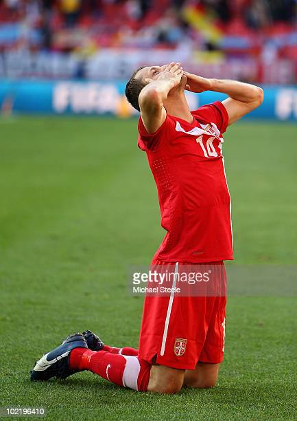 Aleksandar Lukovic of Serbia celebrates victory following the 2010 FIFA World Cup South Africa Group D match between Germany and Serbia at Nelson...