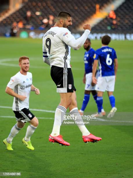 Aleksandar Mitrović of Fulham celebrates after he scores from the penalty spot during the Sky Bet Championship match between Fulham and Cardiff City...