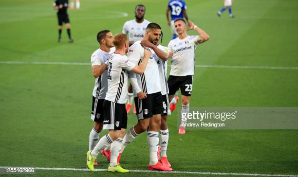 Aleksandar Mitrović of Fulham is congratulated after he scores from the penalty spot during the Sky Bet Championship match between Fulham and Cardiff...