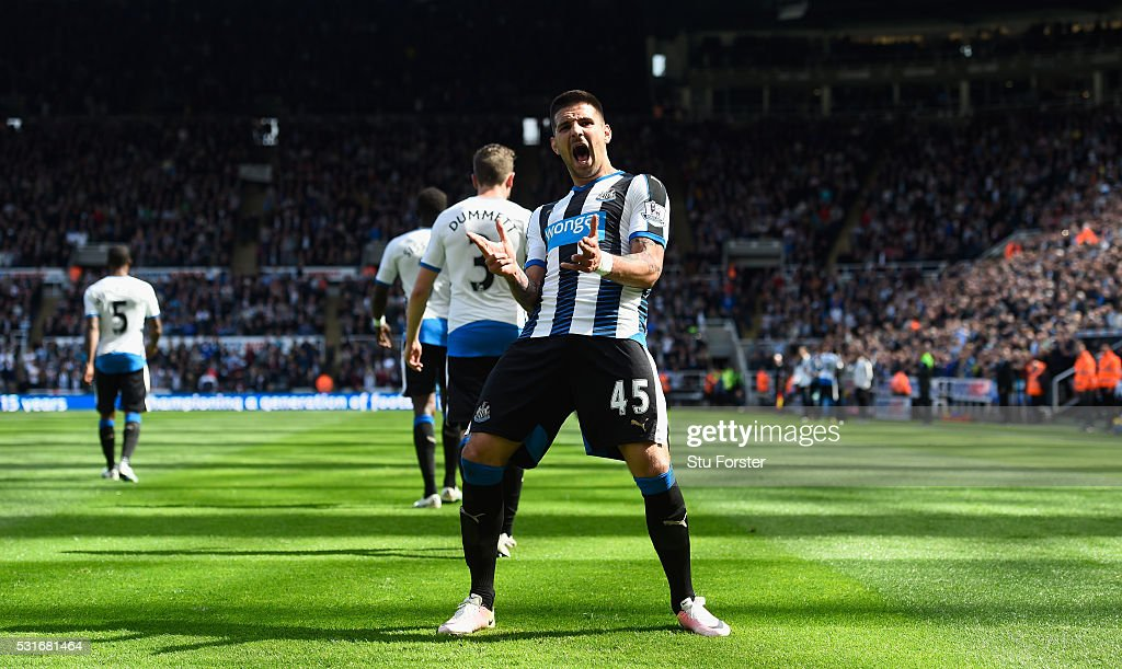 Aleksandar Mitrovic celebrates after scoring the second goal during the Premier League match between Newcastle United and Tottenham Hotspur at St James' Park on May 15, 2016 in Newcastle upon Tyne, England.