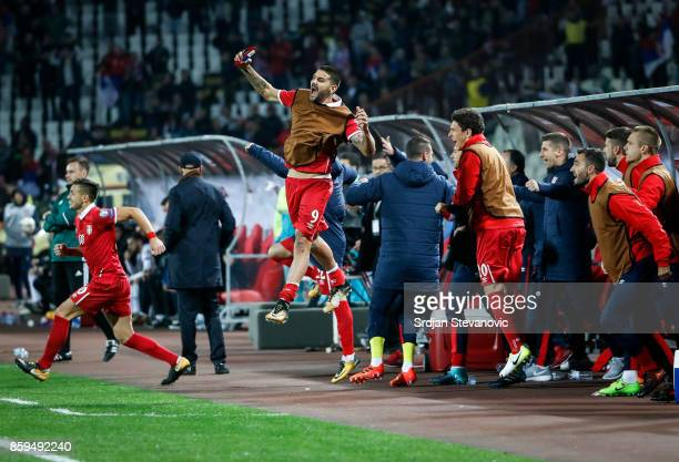 Aleksandar Mitrovic Dusan Tadic and Milos Veljkovic of Serbia celebrates the victory after FIFA 2018 World Cup Qualifier between Serbia and Georgia...