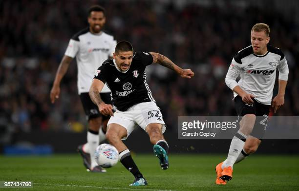 Aleksandar Mitrovic fires in a shot during the Sky Bet Championship Play Off Semi FinalFirst Leg match between Derby County and Fulham at iPro...