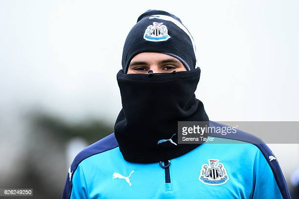 Aleksandar Mitrovic looks at the camera whilst wearing a snood during the Newcastle United Training Session at The Newcastle United Training Centre...