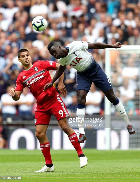 Aleksandar Mitrovic of Fulham and Davinson Sanchez of Tottenham Hotspur battle for the header during the Premier League match between Tottenham...