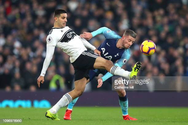 Aleksandar Mitrovic of Fulham and Toby Alderweireld of Tottenham clash during the Premier League match between Fulham FC and Tottenham Hotspur at...