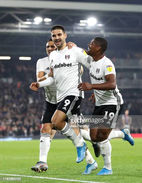 Aleksandar Mitrovic of Fulham celebrates after he scores his sides first goal during the Sky Bet Championship match between Fulham and Luton Town at...