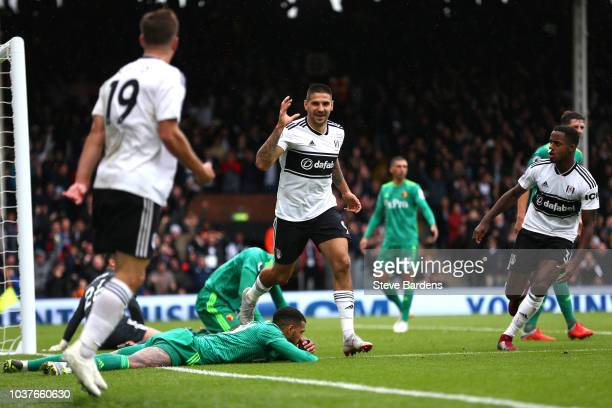 Aleksandar Mitrovic of Fulham celebrates after scoring his sides first goal during the Premier League match between Fulham FC and Watford FC at...