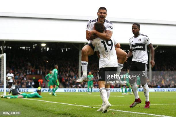 Aleksandar Mitrovic of Fulham applauds the Fulham supporters after the Premier League match between Fulham FC and Watford FC at Craven Cottage on...