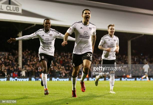 Aleksandar Mitrovic of Fulham celebrates after scoring his sides second goal during the Sky Bet Championship match between Fulham and Leeds United at...