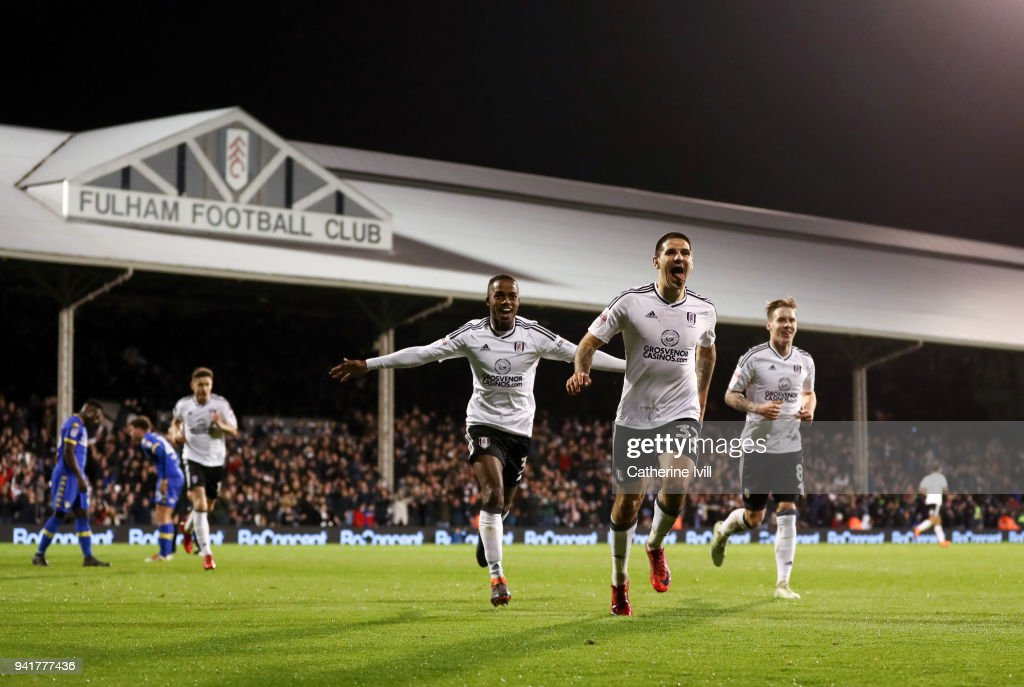 Aleksandar Mitrovic of Fulham celebrates after scoring his sides second goal during the Sky Bet Championship match between Fulham and Leeds United at Craven Cottage on April 3, 2018 in London, England.