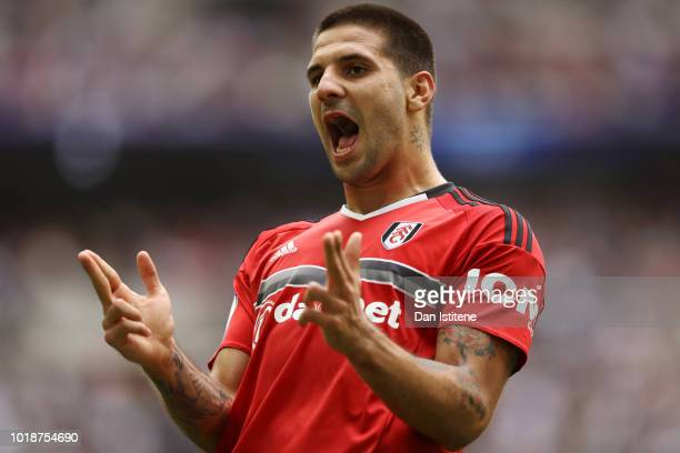 Aleksandar Mitrovic of Fulham celebrates after scoring his team's first goal during the Premier League match between Tottenham Hotspur and Fulham FC...