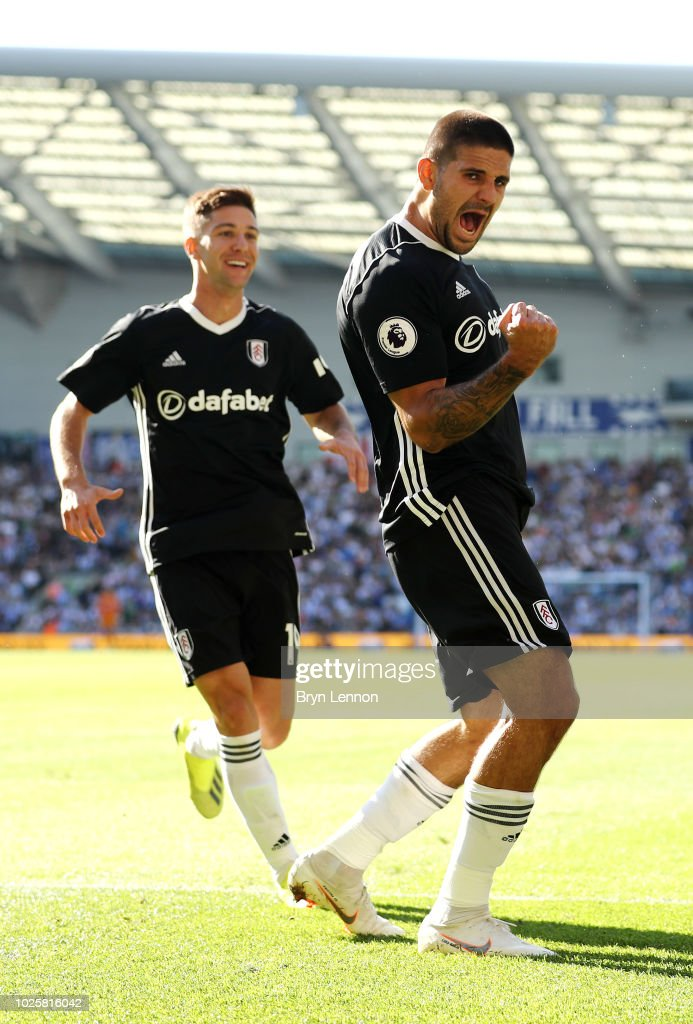 Aleksandar Mitrovic of Fulham celebrates after scoring his team's second goal during the Premier League match between Brighton & Hove Albion and Fulham FC at American Express Community Stadium on September 1, 2018 in Brighton, United Kingdom.