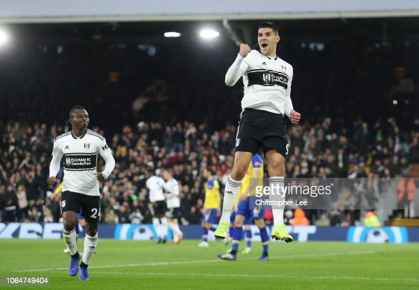Aleksandar Mitrovic of Fulham celebrates after scoring his team's first goal during the Premier League match between Fulham FC and Southampton FC at...