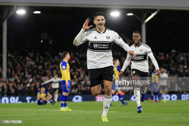 Aleksandar Mitrovic of Fulham celebrates after scoring his team's third goal during the Premier League match between Fulham FC and Southampton FC at...
