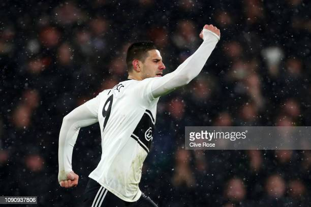 Aleksandar Mitrovic of Fulham celebrates after scoring his team's second goal during the Premier League match between Fulham and Brighton Hove Albion...
