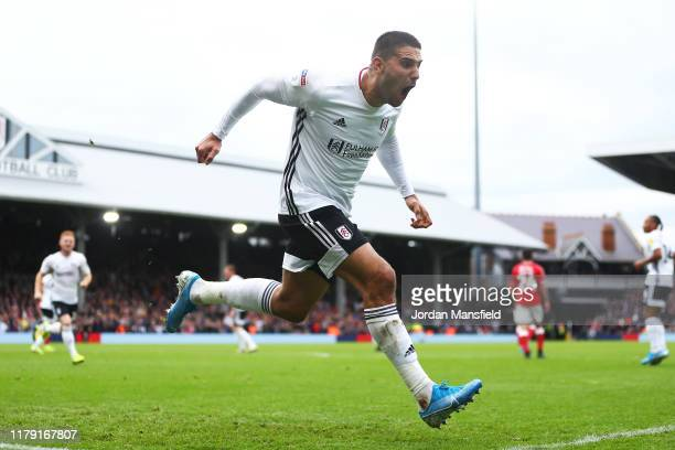 Aleksandar Mitrovic of Fulham celebrates scoring his sides second goal during the Sky Bet Championship match between Fulham and Charlton Athletic at...