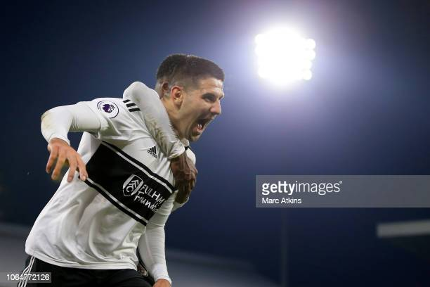 Aleksandar Mitrovic of Fulham celebrates scoring the winning goal during the Premier League match between Fulham FC and Southampton FC at Craven...