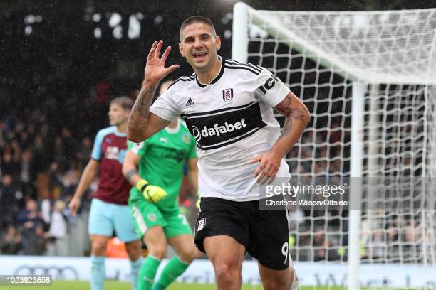 Aleksandar Mitrovic of Fulham celebrates scoring their 2nd goal during the Premier League match between Fulham FC and Burnley FC at Craven Cottage on...
