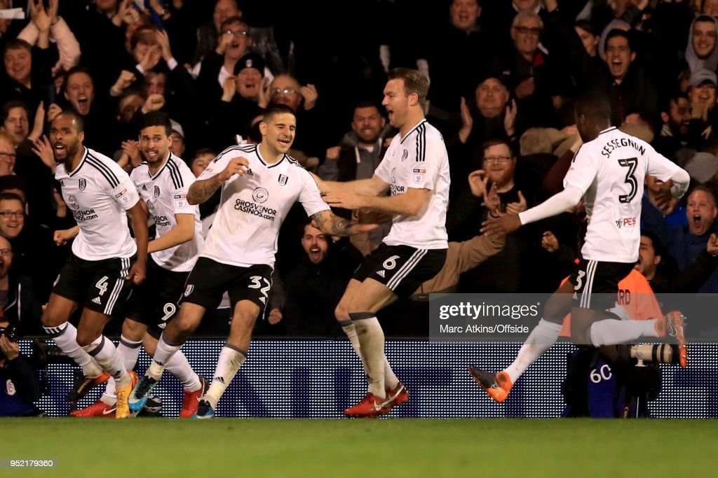 Aleksandar Mitrovic of Fulham celebrates scoring their 2nd goal during the Sky Bet Championship match between Fulham and Sunderland at Craven Cottage on April 27, 2018 in London, England.