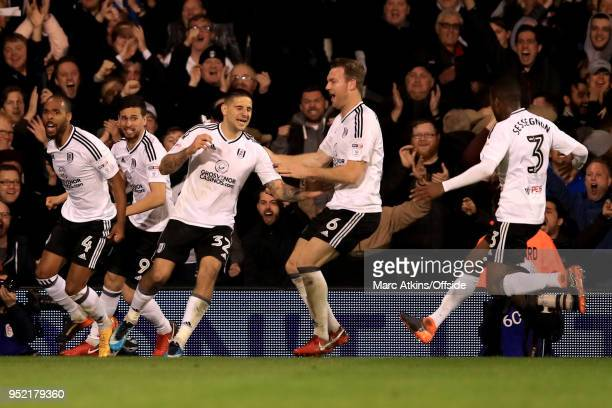 Aleksandar Mitrovic of Fulham celebrates scoring their 2nd goal during the Sky Bet Championship match between Fulham and Sunderland at Craven Cottage...