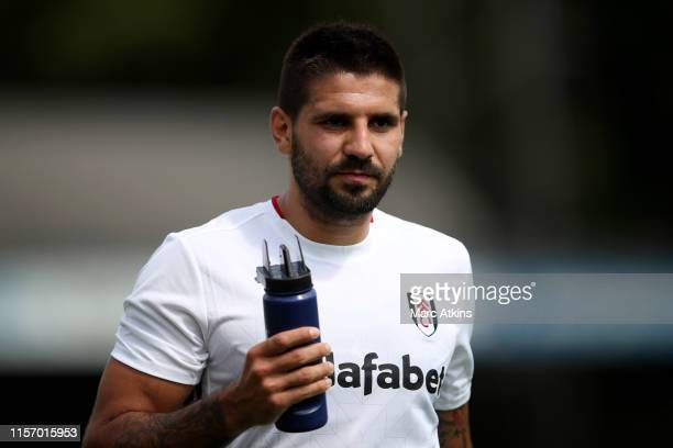 Aleksandar Mitrovic of Fulham during the Pre-Season Friendly match between Brighton and Hove Albion and Fulham at EBB Stadium on July 20, 2019 in...