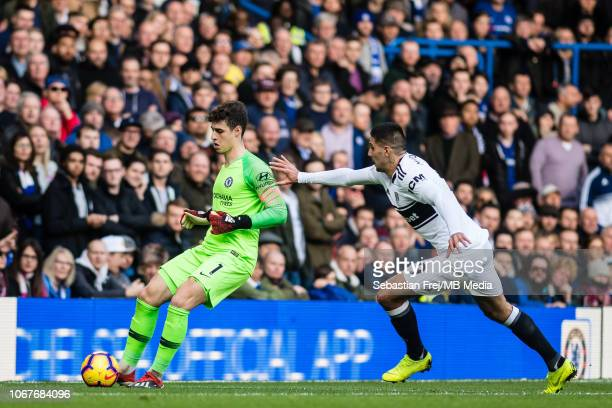 Aleksandar Mitrovic of Fulham FC and Kepa Arrizabalaga of Chelsea FC during the Premier League match between Chelsea FC and Fulham FC at Stamford...