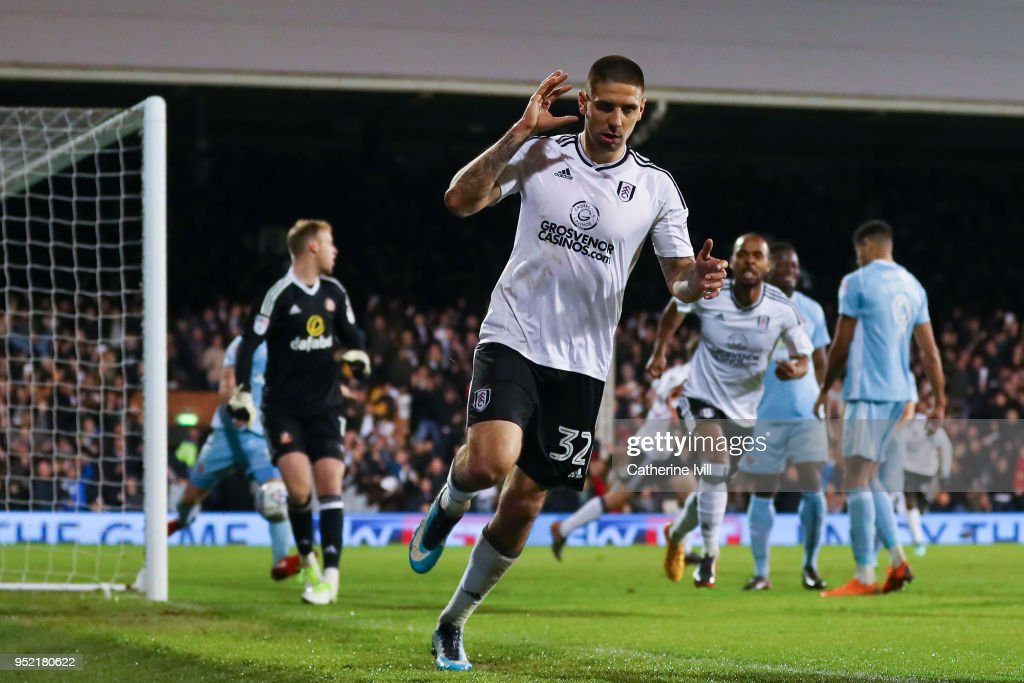Aleksandar Mitrovic of Fulham FC celebrates after scoring his team's second goal during the Sky Bet Championship match between Fulham and Sunderland at Craven Cottage on April 27, 2018 in London, England.