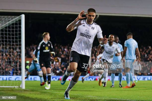 Aleksandar Mitrovic of Fulham FC celebrates after scoring his team's second goal during the Sky Bet Championship match between Fulham and Sunderland...