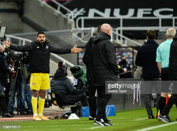 Aleksandar Mitrovic of Fulham FC gestures from the sidelines during the Premier League match between Newcastle United and Fulham at St. James Park on...