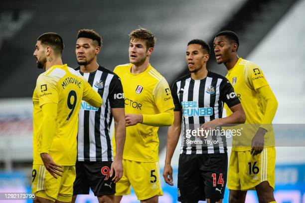 Aleksandar Mitrovic of Fulham FC , Joelinton of Newcastle United FC , Joachim Andersen of Fulham FC , Isaac Hayden of Newcastle United FC and Tosin...