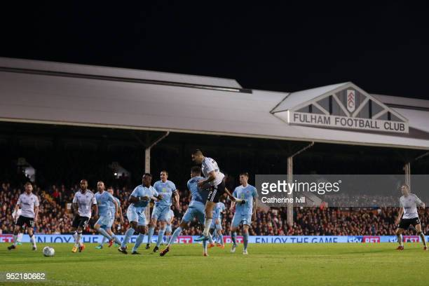 Aleksandar Mitrovic of Fulham FC scores his team's second goal during the Sky Bet Championship match between Fulham and Sunderland at Craven Cottage...