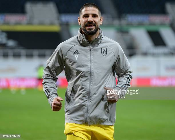 Aleksandar Mitrovic of Fulham FC smiles during the Premier League match between Newcastle United and Fulham at St. James Park on December 19, 2020 in...