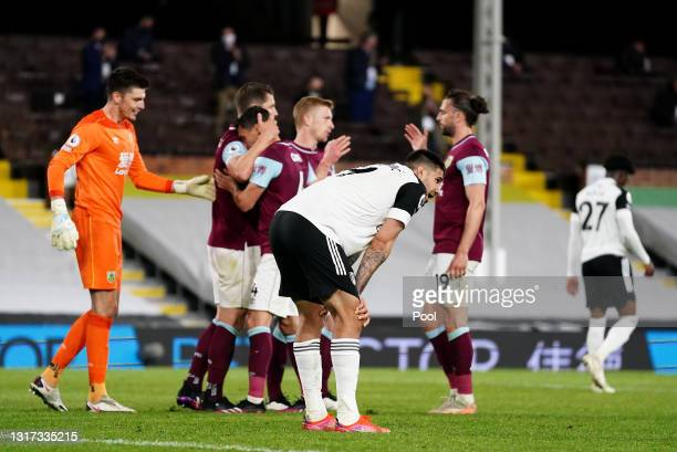 Aleksandar Mitrovic of Fulham looks dejected after defeat as Fulham are relegated following the Premier League match between Fulham and Burnley at...