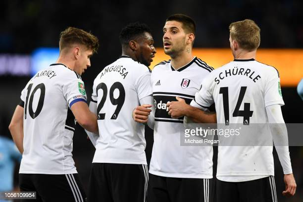 Aleksandar Mitrovic of Fulham looks on as the Fulham players form a wall during the Carabao Cup Fourth Round match between Manchester City and Fulham...