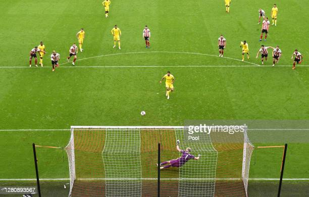 Aleksandar Mitrovic of Fulham misses a penalty during the Premier League match between Sheffield United and Fulham at Bramall Lane on October 18,...