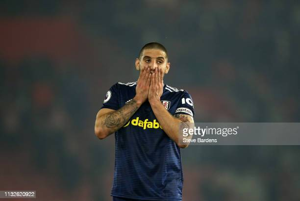 Aleksandar Mitrovic of Fulham reacts after his sides defeat during the Premier League match between Southampton FC and Fulham FC at St Mary's Stadium...