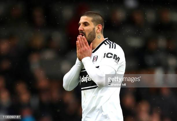Aleksandar Mitrovic of Fulham reacts to a missed chance during the Premier League match between Fulham FC and Chelsea FC at Craven Cottage on March...