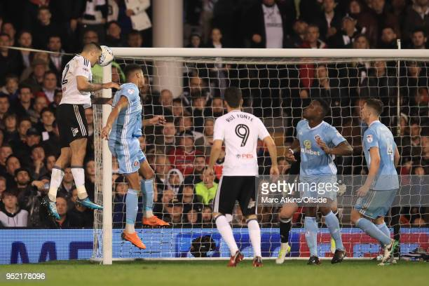 Aleksandar Mitrovic of Fulham scores a goal to make it 21 during the Sky Bet Championship match between Fulham and Sunderland at Craven Cottage on...